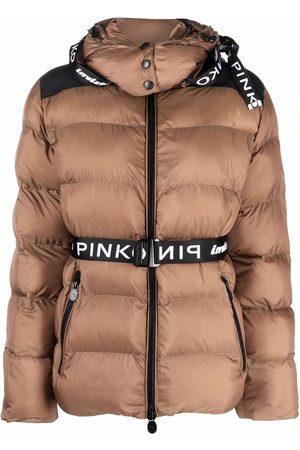 Pinko Naiset Untuvatakit - Logo belt puffer jacket