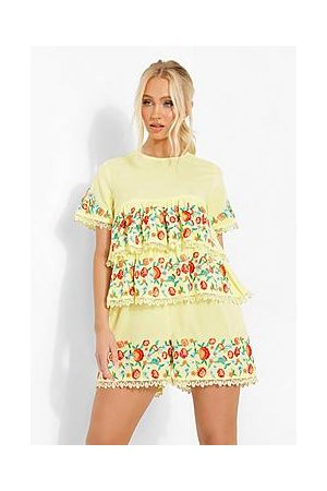 Boohoo Embroidered Tiered Smock Playsuit