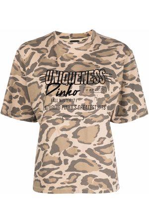 Pinko Naiset T-paidat - Leopard-print slogan cotton T-shirt