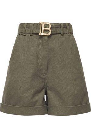 Balmain Cotton Denim High Waist Shorts W/belt