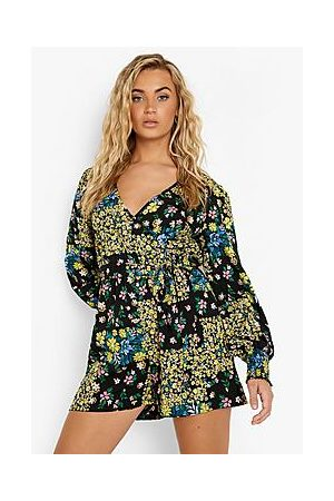 Boohoo Mixed Floral Wrap Playsuit