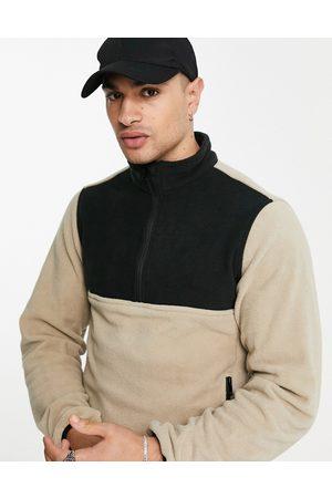 JACK & JONES Originals 1/4 zip fleece in colourblock-Neutral