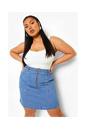 Boohoo Plus Zip Pocket Denim Mini Skirt