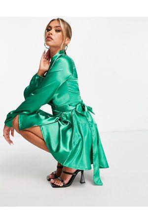 TFNC Satin wrap midi dress in emerald green