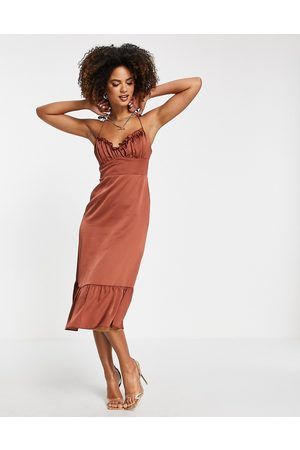 Trendyol Ruffle hem dress in cinnamon brown