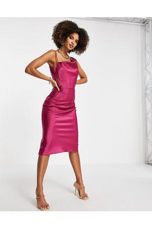Trendyol Cowl neck satin dress in fuchsia-Pink