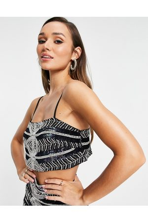 ASOS Placement beaded cami top in black