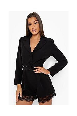 Boohoo Lace Trim Belted Blazer Playsuit