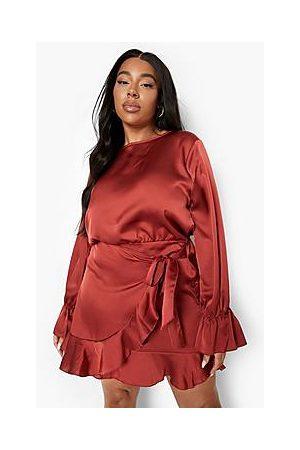 Boohoo Plus Ruffle Satin Wrap Dress