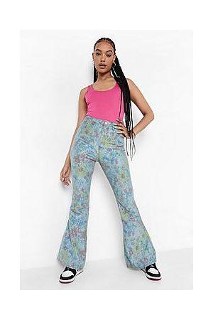 Boohoo Vintage Floral Flared Denim Jeans