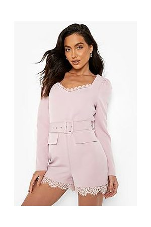 Boohoo Lace Trim Puff Sleeve Belted Playsuit