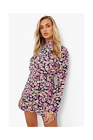 Boohoo Floral High Neck Puff Sleeve Playsuit