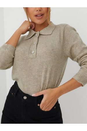 JACQUELINE DE YONG Naiset Pikee - Jdyrue Raya L/S Polo Pullover Knt Simply Taupe Melange