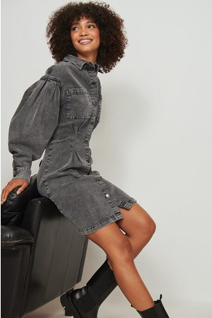NA-KD Gathered Waist Denim Dress - Grey
