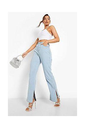 Boohoo Diamante Trim Straight Leg Split Hem Jean