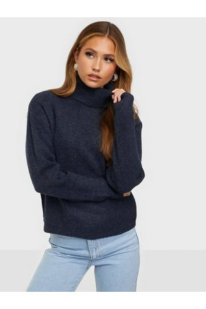 Pieces Naiset Poolopaidat - Pcskyla Ls Roll Neck Wool Knit Bc Sky Captain