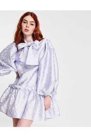 Sister Jane Mini smock dress with oversized bow in jacquard-Blue