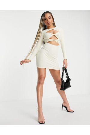 Saint Genies Twist front ribbed dress in ecru-White