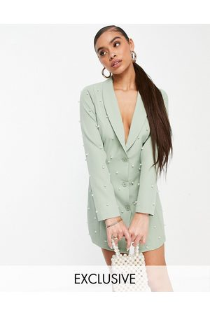 Saint Genies Exclusive pearl embellished blazer dress in sage-Green