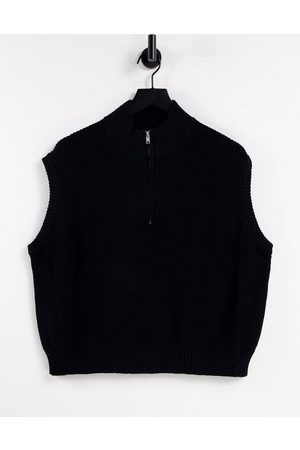 Cotton On Naiset Hihattomat - Sleeveless knitted polo top in black