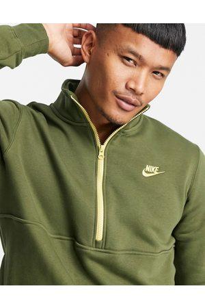 Nike Club fleece half zip sweat in khaki-Green