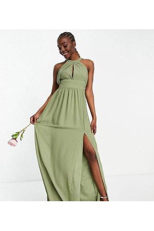 TFNC Naiset Juhlamekot - Bridesmaid pleated maxi dress in dusky green