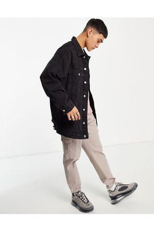 Bershka Oversized denim jacket in black