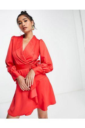 Closet Wrap tie tailored mini dress in red