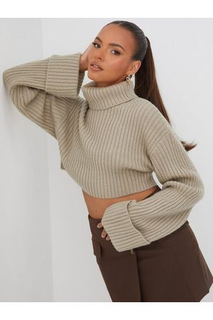 Gina Tricot Naiset Poolopaidat - River knitted sweater Taupe