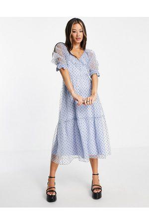 Topshop Naiset Juhlamekot - Spot taffeta occasion dress in blue