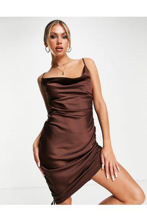 Saint Genies Tie ruching satin mini dress in chocolate-Brown
