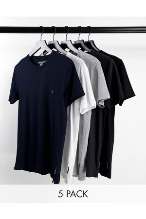 French Connection 5 pack t-shirt in black