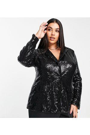 Saint Genies Naiset Setit - Sequin blazer co ord in black sequin