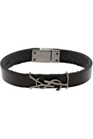 Saint Laurent Single Wrap Ysl Opyum Leather Bracelet