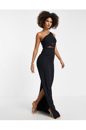 Trendyol One shoulder cut out maxi dress in black