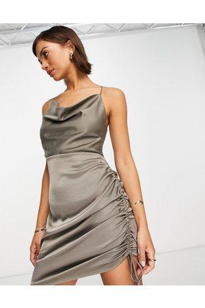 Envii Satin slip mini dress in dark grey satin