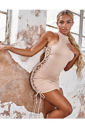 Missyempire Naiset Juhlamekot - X Tennessee Thresher scuba lace up dress in beige-White