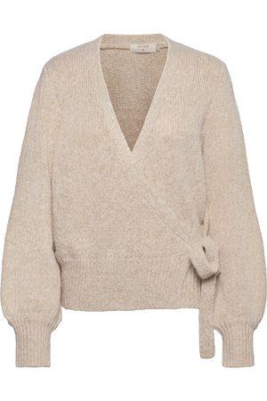 Cream Kiaracr Knit Wrap Blouse Neulepaita Ruskea
