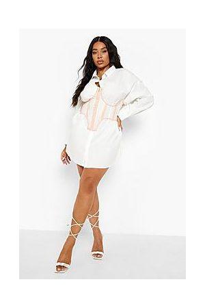 Boohoo Plus Mesh Corset Detail Shirt Dress