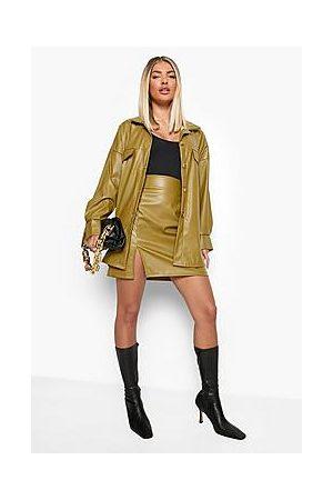 Boohoo Naiset Minihameet - Leather Look Side Split Mini Skirt