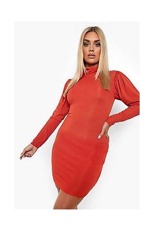 Boohoo Naiset Myötäilevät Mekot - Plus Rib Roll Neck Bodycon Dress