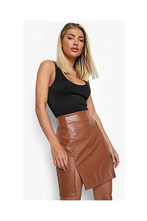 Boohoo Leather Look Side Split Mini Skirt