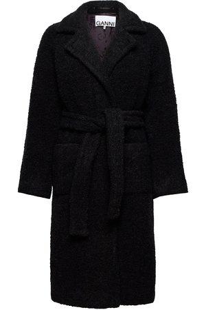 Ganni Boucle Wool Outerwear Coats Winter Coats Musta