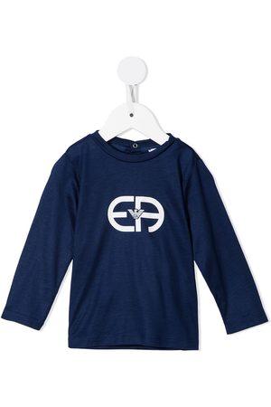 Emporio Armani Pitkähihaiset - Monogram-print long-sleeved T-shirt
