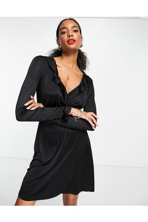 French Connection Naiset Juhlamekot - Sonike bamboo jersery wrap mini dress in black