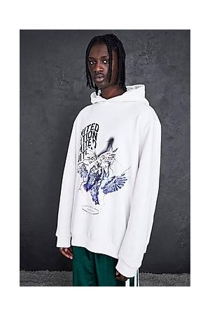 Boohoo Oversized Lightning Dove Graphic Hoodie