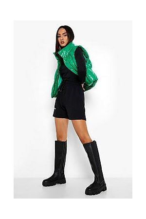 Boohoo Cleated Chunky Sole Knee High Chelsea Boots