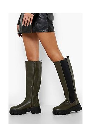 Boohoo Naiset Nilkkurit - Cleated Chunky Sole Knee High Chelsea Boots