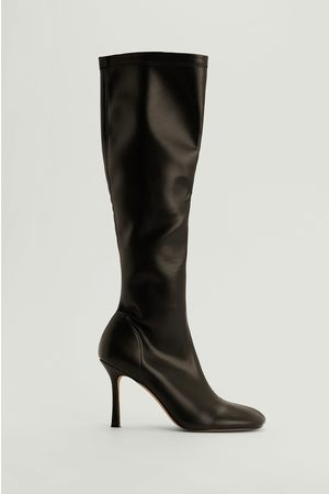 NA-KD Knee High Rounded Toe Boots - Black