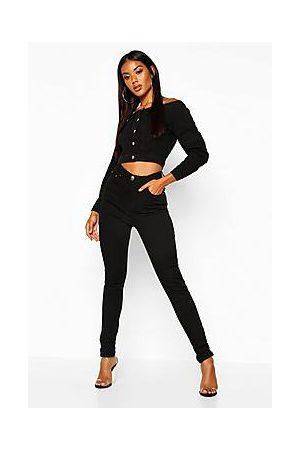 Boohoo Naiset Boyfriend - High Waisted Classic Stretch Skinny Jeans